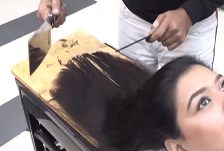 हथौड़े-चाकू से बालों की कटाई