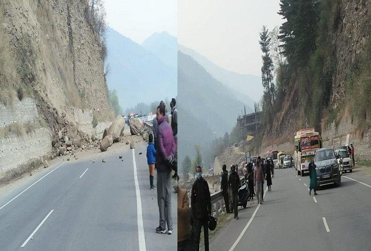 राष्ट्रीय राजमार्ग कुल्लू-मनाली भूस्खलन से घंटों रहा बंद