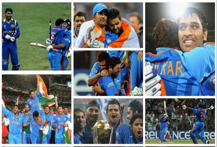 विश्व कप 2011 फाइनल में जीत के बाद भारतीय टीम
