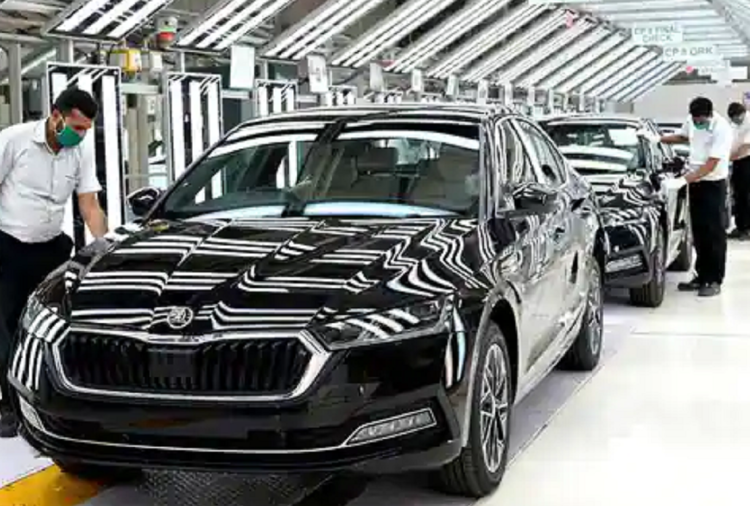 Skoda Octavia 2021 at company's production facility in Aurangabad