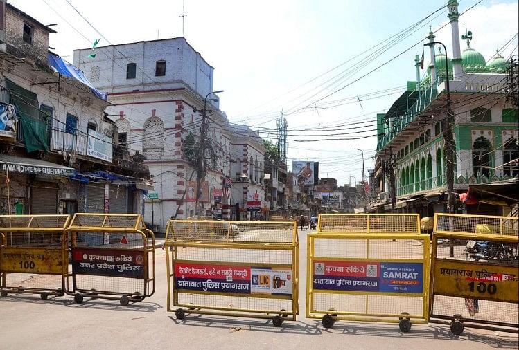 prayagraj news : हाट स्पाट के रूप में तब्दील हुआ चौक इलाका।