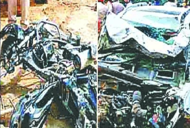 पल भर में उजड़ा परिवार: सड़क हादसे में बाइक सवार पति-पत्नी और तीन मासूम बेटियों की मौत