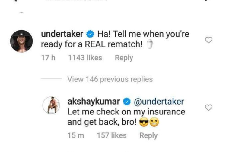 Comments by Undertaker and Akshay Kumar