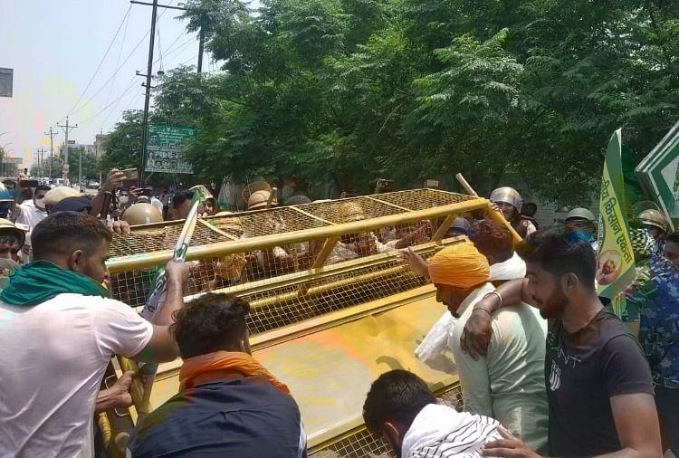 एसपी ऑफिस के घेराव को बढ़े किसान, शासन के साथ बैठक भी बेनतीजा