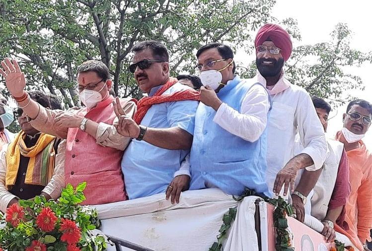 उत्तराखंड: रुद्रपुर में मुख्यमंत्री पुष्कर सिंह धामी का रोड शो, कार्यकर्ताओं में दिखा उत्साह, किसानों ने किया प्रदर्शन