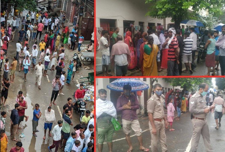 घटनास्थल पर मौजूद पुलिस व स्थानीय लोगों की जुटी भीड़।