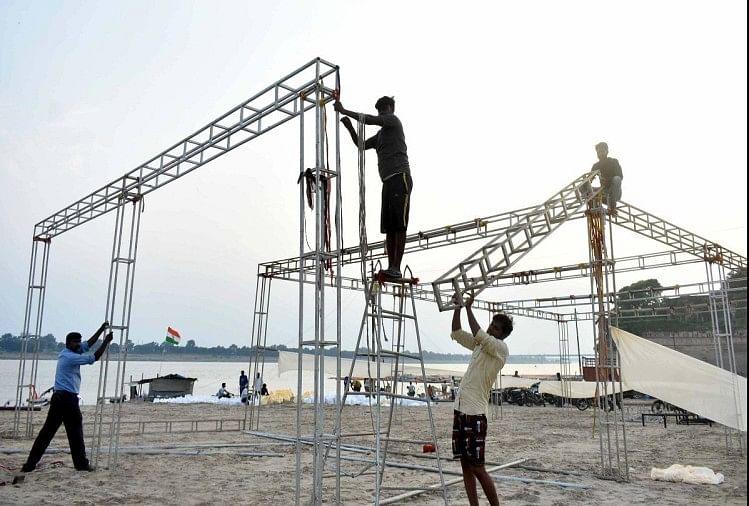 president visit in prayagraj : राष्ट्रपति रामनाथ कोविंद के आगमने के मद्देनजर संगम पर की जा रही तैयारी।