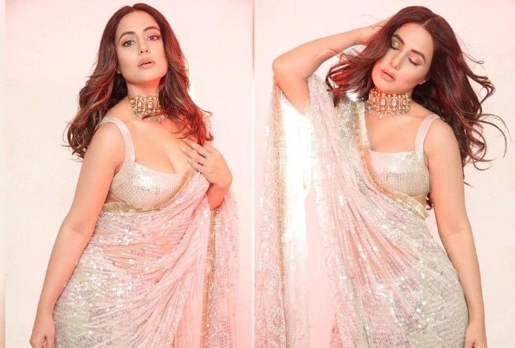 Hina Khan: हिना खान की अदाएं आपको कर देगी मदहोश , सिल्वर साड़ी में लग रही है