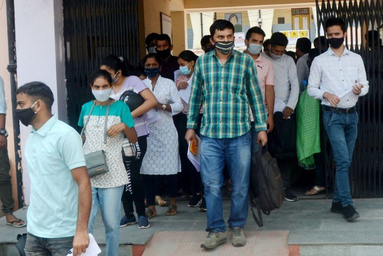 Candidates appearing for HAS examination in Children's School Hamirpur.