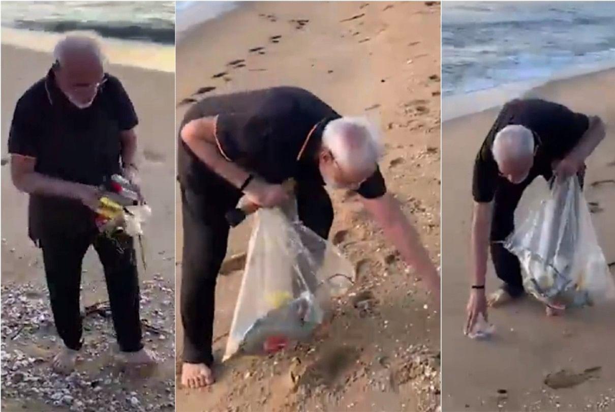 पीएम नरेंद्र मोदी ने तमिलनाडु के महाबलिपुरम में समुद्र तट पर सफाई करके स्वच्छता का संदेश दिया था।