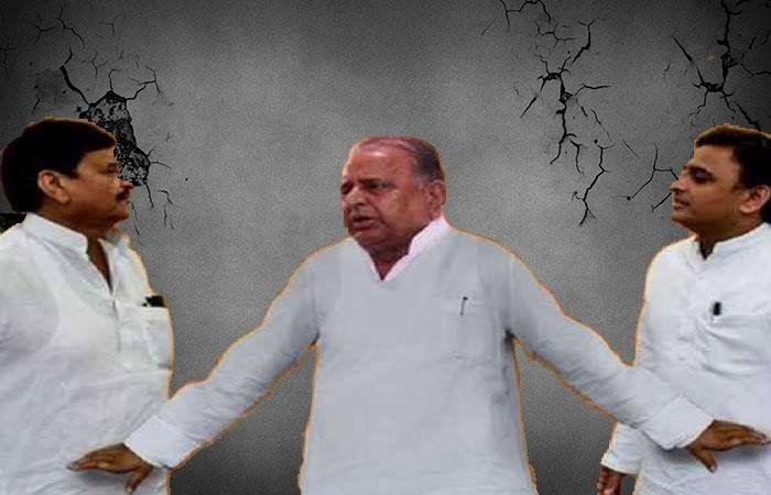 during meeting at SP office heated argument exchanged between mulayam akhilesh and shivpal