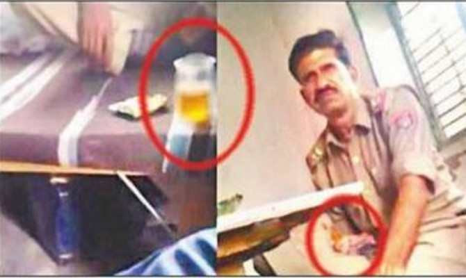 Viral video, UP Police cops drink alcohol in Chowki got suspended