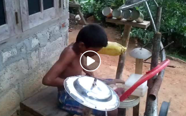 Kid plays drum set made of Scraps, Video goes Viral