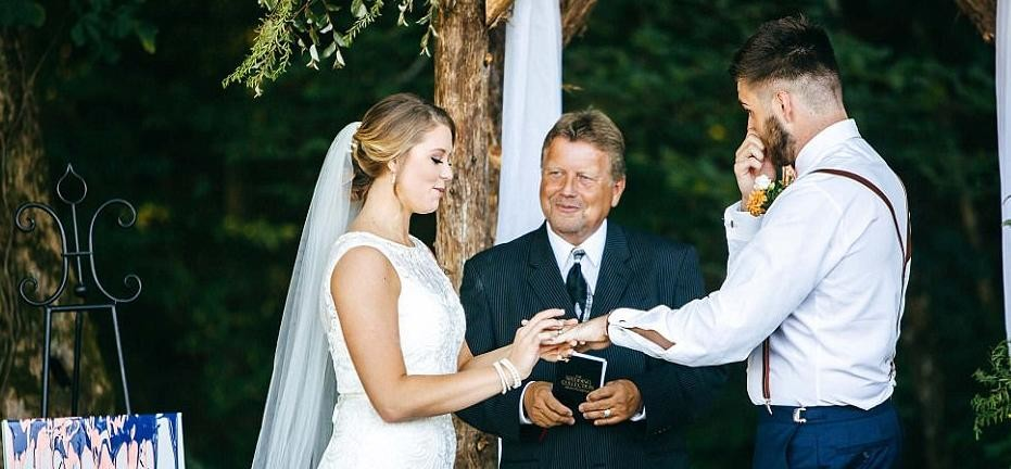 Groom's VERY tearful reaction at seeing his bride walk down the aisle
