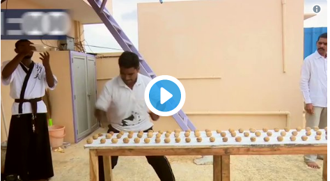 Martial arts master Prabhakar Reddy made record, break 212 walnuts in a minute