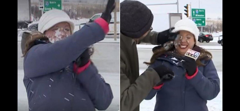 News Reporter gets hit by a SNOWBALL before LIVE weather update