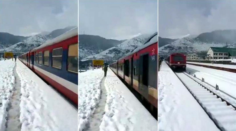 This Train passing snow covered station may divert tourist to Kashmir, Viral Video