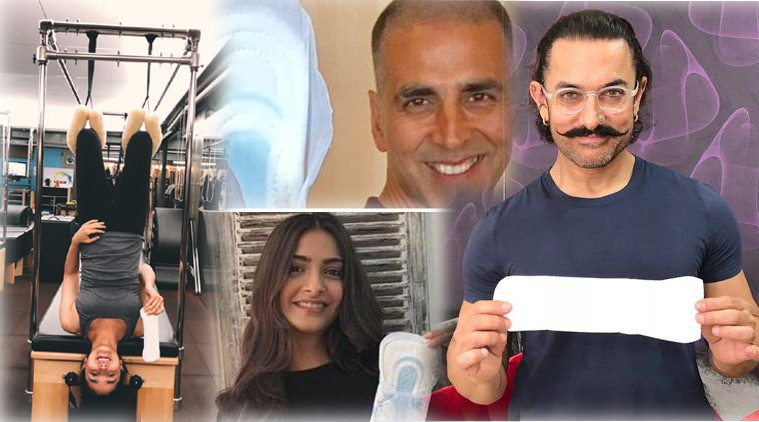 padman challenge akshay kumar aamir khan bollywood celebrities post photo with sanitary pad