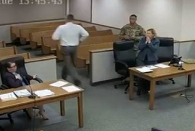 when judge runs behind two criminal from courtroom, viral video on social media