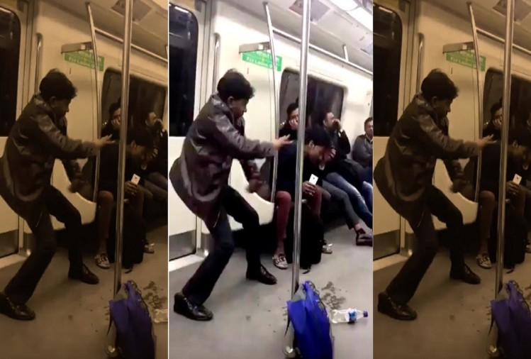Funny dance on sapna chaudhary song in delhi metro video viral
