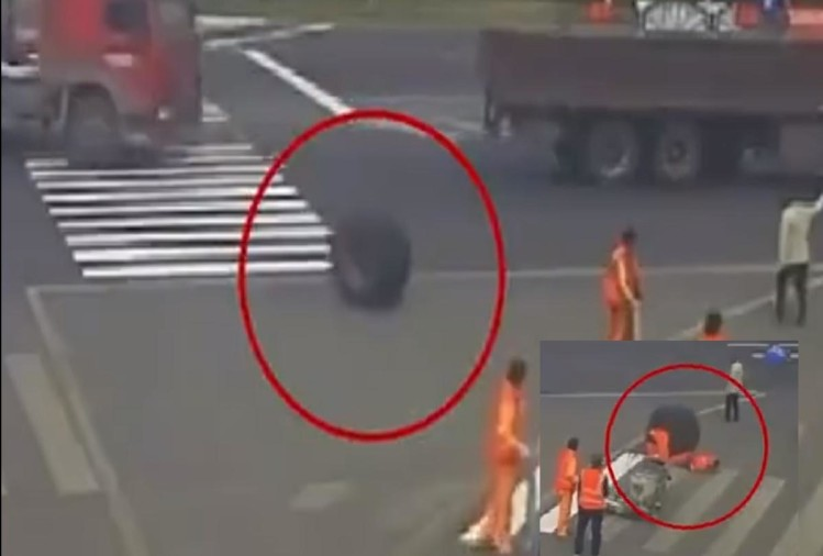 Viral video Tyre rolls off a running truck and run over a street painter in china