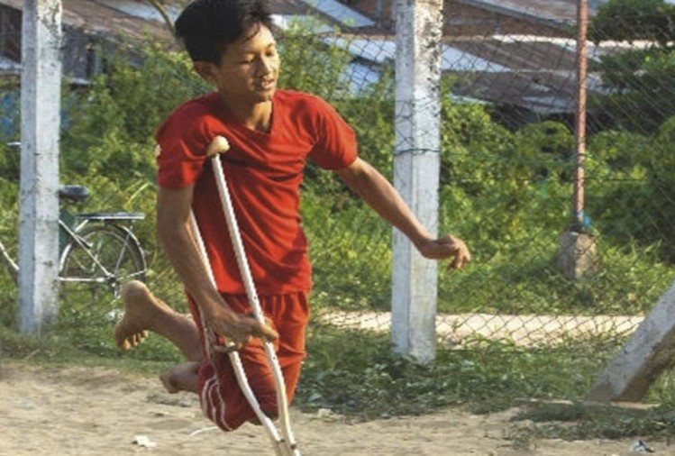 this disabled boy from myanmar has been best footballer in local tournament