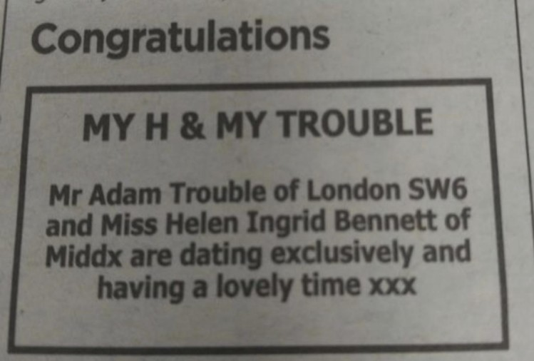 couple announce their dating in news paper