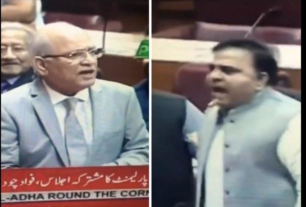 viral video of pakistan assembly fight between mushahid ullah and fawad chaudhry-
