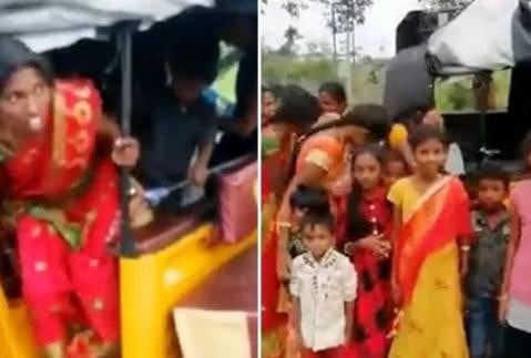 viral video of telangana auto driver who take overcrowded passenger