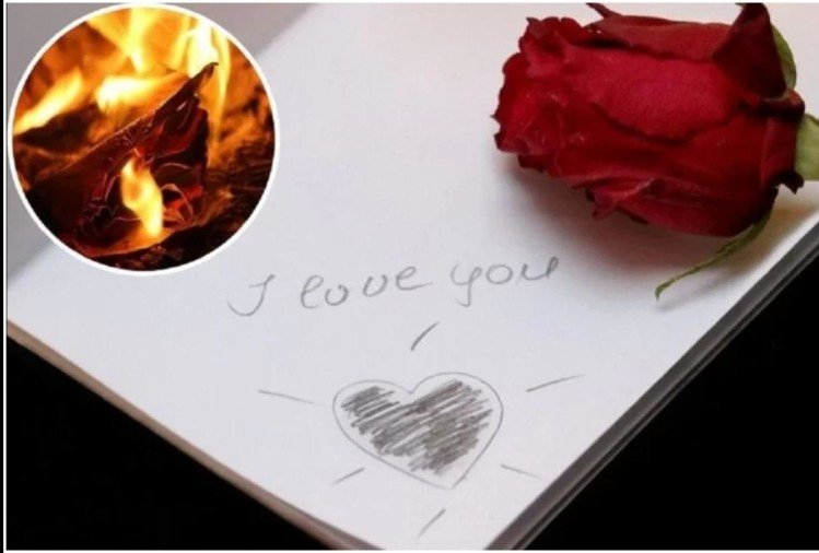 woman burning love letters while small mistake fire on appartment