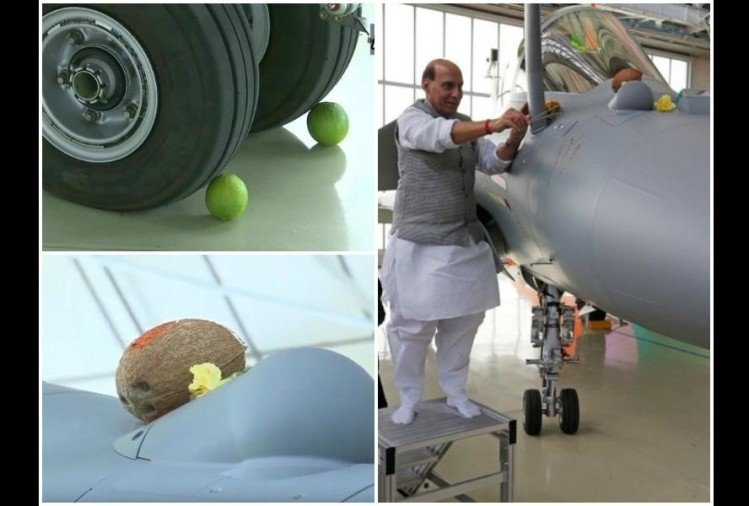 funny and viral memes on rafale puja with lemons