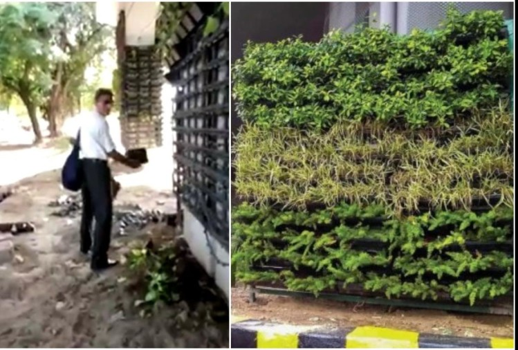 old man steal vertical garden flower pot