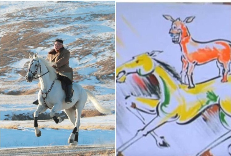 soccial media reaction on on viral photo of kim jong un horse ride
