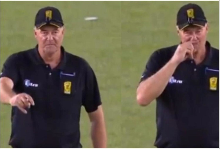 Viral video of umpire raises finger after lbw appeal ends up scratching nose
