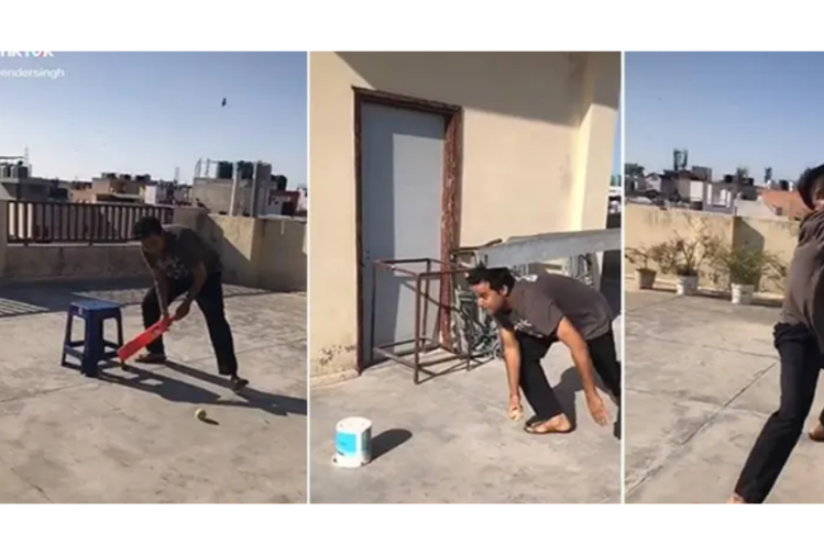 viral video of tik tok man playing alone cricket batting bowling and fielding by himself
