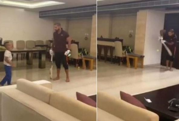 Viral video of shikhar dhawan playing cricket at home quarantine and gone out 99 runs