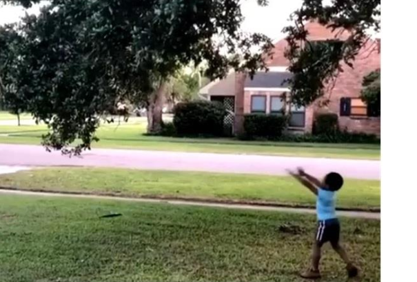 viral video of little boy who carried super power