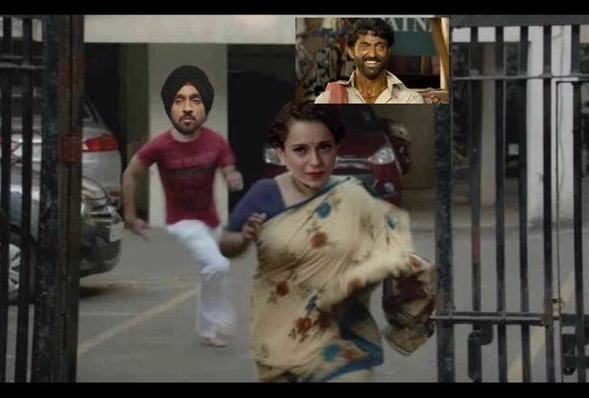 social media reaction on Diljit and kangana war users make hilarious memes on it