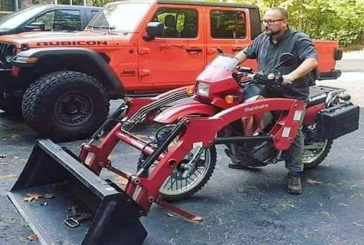 man made jcb machine from bike with jugaad technology picture viral