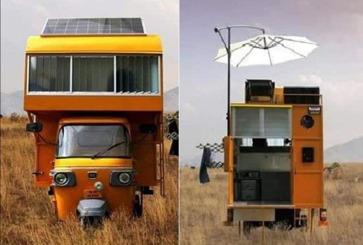 A man built Luxurious house on the roof of an auto rickshaw