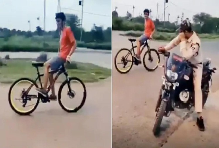 Viral Video police watched boy who was performing cycle stunt IPS officer gave epic reaction