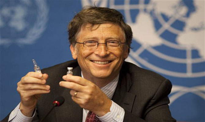 Microsoft founder Bill Gates shows a vaccination for Meningitis during a press conference at the United Nations headquarters in Geneva, Switzerland, Tuesday, May 17, 2011. Gates is in Geneva to attend the annual meeting of the World Health Organization. (AP Photo/Anja Niedringhaus)