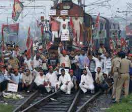 trains stopped at many places as bharat bandh evoked