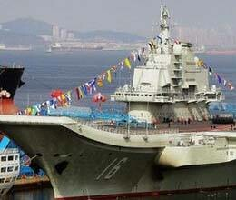 china shows power through aircraft carrier