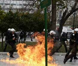 violence erupts in greece after spain and portugal