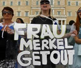 protesters rally as merkel voices support for austerity hit greece