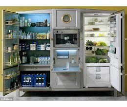 the la cambusa fridge which has coffee maker and tv also