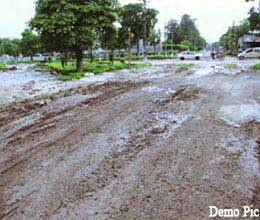 dozens of villagers troubling with bad roads