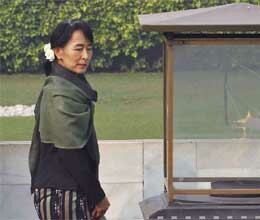 Suu Kyi will deliver jawahar lal nehru memorial lecture today in delhi
