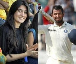 pujara hits century in presence of his fiance
